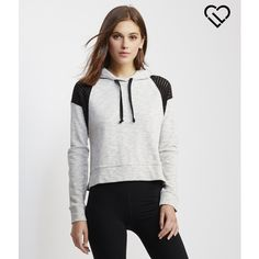 Aeropostale LLD Perf Cropped Hoodie ($32) ❤ liked on Polyvore featuring tops, hoodies, light heather grey, henley hoodie, hooded pullover, henley tops, hoodie and aeropostale hoodie