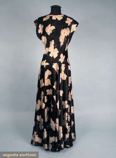 Augusta Auctions, April 2009 Vintage Fashion and Textile Auction, Lot 231: Two Printed Silk Long Gowns, C. 1940