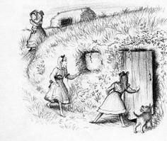 Illustration from Little Sod House below the bank on Plum Creek (Laura Ingalls Wilder), Garth Williams Laura Ingalls Wilder, Garth Williams, Children's Book Illustration, Book Illustrations, The Hobbit, Hobbit Hole, Book Art, Creative, Missouri