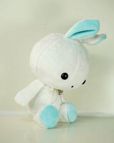 Cute Bellzi Stuffed Animal White w/ Teal Contrast by BellziPlushie, $35.00