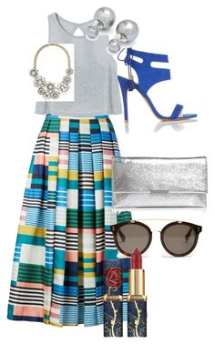A fashion look from March 2017 featuring striped skirts, monk-strap shoes and Loeffler Randall. Browse and shop related looks. Classy Work Outfits, Classic Outfits, Chic Outfits, Fashion Outfits, Womens Fashion, Cute Fashion, Modest Fashion, Skirt Fashion, Fashion Looks
