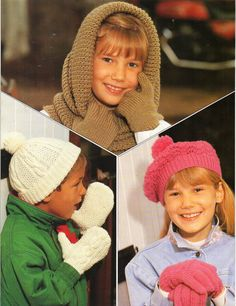 vintage childrens hats gloves mitts knitting pattern pdf aran cable cap mitts DK snood beret gloves 5-12Years DK 8py or aran 10ply Download by Minihobo on Etsy