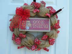 Burlap Deco Mesh wreath with a Gone Fishing sign