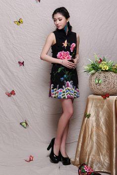 bestickte+Weste+/+chinesisches+Kleid+-+schwarz+von+Origina+auf+DaWanda.com