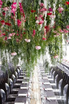hanging flowers greenery green pink blush magenta hot grey louis ghost reception table wedding design decor setting seating clear acrylic Lauren loves Alex at Georgeous Occasions Decoration Table, Reception Decorations, Flower Decorations, Spring Wedding, Garden Wedding, Hanging Flowers Wedding, Wedding Reception, Wedding Venues, Wedding Arches