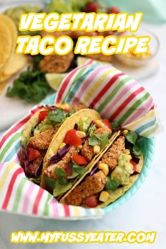 Delicious Tex Mex Tacos made with Quorn Vegan Nuggets. Vegetarian Meals For Kids, Vegetarian Recipes, Healthy Recipes, Family Meals, Kids Meals, Taco Recipe, Main Meals, Slow Cooker Recipes
