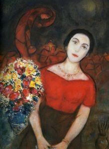 Retrato de Vavá 1953-1956 El tiempo cura las heridas y Chagall tuvo la suerte de encontrar la plácida y equilibrada Vavá, una mujer que se convirtió para él en una compañera ideal, amada, consejera y secretaria en una sola persona, capaz de estimular, para (re)despertar la antigua creatividad y mantenerla con vida en el anciano hasta días antes de su muerte.