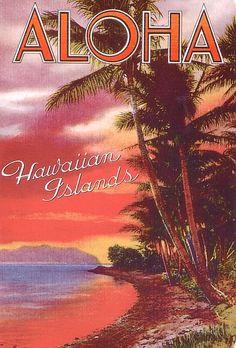 Vintage Hawaiian postcard - Hawaii is beautiful can't wait to go again