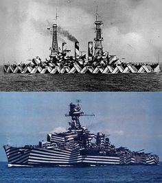 The DAZZLE CAMOUFLAGE - the effective visual technique used against U-boat torpedoes during WWI, meant to confuse about the vessel Dazzle Camouflage, Uss Arizona, Battle Ships, Heavy Cruiser, Us Navy Ships, Mode Of Transport, Razzle Dazzle, Submarines, Royal Navy