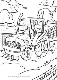 ausmalbilder traktor mit ladewagen