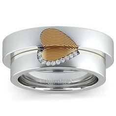 Matching Heart Fingerprint Inlay Wedding Ring Set in Platinum and Yellow Gold…