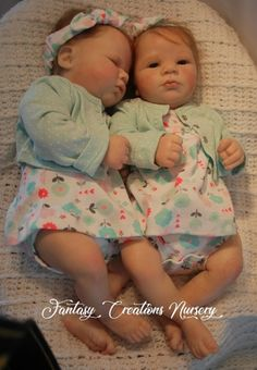 """Reborn Babies for Sale Reborn Babies, Reborn Dolls.  This is Lavender Awake, and Lavender Asleep.  They are 19"""" with a soft body and full arms and full legs.  They wear newborn and size 0 shoe."""