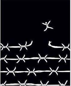 breaking free / barbed wire / digital illustration / black and white Political Art, Break Free, Grafik Design, Art Journals, Illustration Art, Artsy, Words, Drawings, Artwork