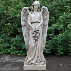 Ordinaire 36u0027 Outdoor Stone Angel Holding Rose Wreath, Gray