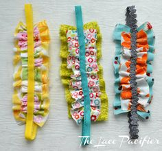 make ruffle headbands for baby - good way to use Babyville Boutique foldover elastic and Dritz ruffled elastic.
