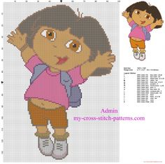 Dora The Explorer jumps free child baby cross stitch pattern (click to view)