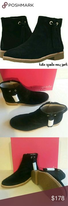 """🆕kate spade new york Classic Suede Booties Size 9 Perfect with your favorite jeans, these timeless booties feature a sleek silhouette with unique fringe tassel details. Inside zipper closure. Approximate measurements: 1"""" heel, 10"""" circumference, and 4.5"""" shaft. According to the manufacturer, the fit generally runs true to size. kate spade Shoes Ankle Boots & Booties"""