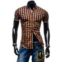 Športové pánske košele hnedej farby s krátkym rukávom - fashionday.eu