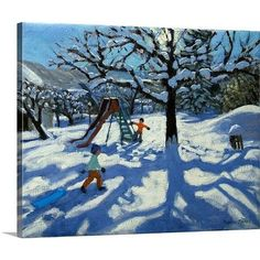 Canvas On Demand 'The Slide In Winter, Bourg, St Moritz' by Andrew Macara Painting Print on Canvas Size: