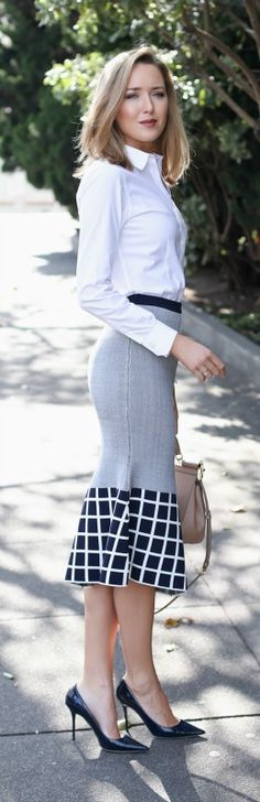 navy graphic trumpet skirt, white non-iron dress shirt, navy patent pointed toe pumps + nude handbag {ty-lr, brooks brothers, jimmy choo, dolce&gabbana}