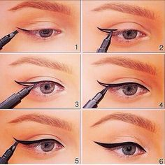Try It: 6 Fantastic Ways To Create Perfect Winged Eyeliner!- Try It: 6 Fantastic Ways To Create Perfect Winged Eyeliner! How to Create Perfect Winged Eyeliner? Eyeliner Make-up, Eyeliner Styles, Eyeliner Looks, How To Apply Eyeliner, Black Eyeliner, Eyebrow Makeup, Korean Eyeliner, Eyebrows, Perfect Winged Eyeliner