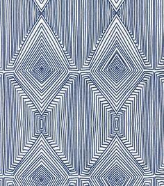 Headboard DIY project: using this Nate Berkus Home Decor Print Fabric-Linea Paramount Caspian