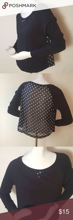 """Aéropostale Mesh-Back Polka Dot Top Aéropostale Mesh-Back Polka Dot Top. Size Medium. Colors: black and white. Cotton and polyester. Measurements: 37"""" bust, 21"""" length, 23"""" sleeve length. Aeropostale Tops Tees - Long Sleeve"""