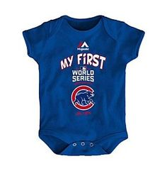 Majestic MLB® Chicago Cubs Baby My First World Series Blue Creeper