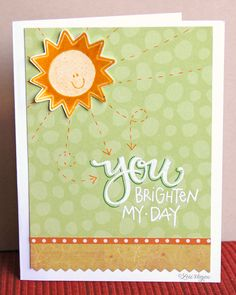 Hello, sunshine! Hello, adorable card by Lori Vliegen! Love how Lori used her Hello Sunshine stamp set from TechniqueTuesday.com to make this cheerful card.