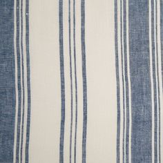 Indian Blue/White Striped Linen Woven Fabric by the Yard   Mood Fabrics