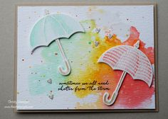 Umbrella Weather Framelits, Weather Together, Stampin Up, Ink Smooshing, Watercoloring, The Stamp Cycle