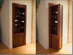 Room hidden behind a wine rack