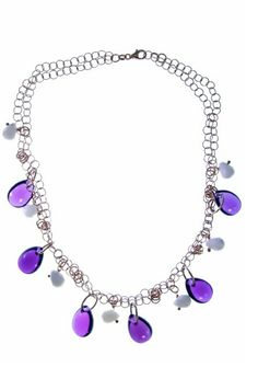 A stunning Amethyst & Chalcedony Beaded drop Necklace. Handmade in Italy by Zoccai, take note of the beautiful chain link on this designer Necklace. Made in 14K Rose Gold Plated 925 Sterling Silver with Semi-Precious Gemstone drops. 67.25ctw of fancy Purple Amethyst and seven 10mm X 8mm White Chalcedony tear drop stones. Lobster Claw clasp.   Treborstyle.com