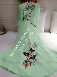 Contact For Any Embirdairy Designs Embroidery Suits Punjabi, Hand Embroidery Dress, Kurti Embroidery Design, Stylish Dress Designs, Stylish Dresses, Fashion Dresses, Velvet Dress Designs, Dress Neck Designs, Designer Party Wear Dresses