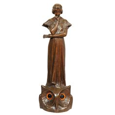 Art Nouveau Bronze Figure of Girl Atop an Owl/Lamp  France  Circa 1900