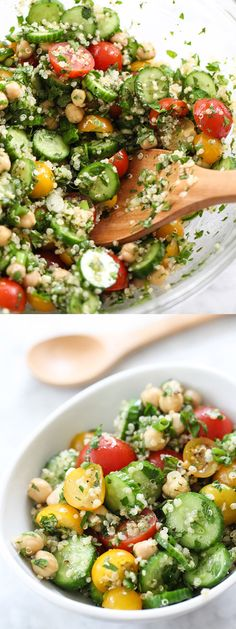 Quinoa Tabbouleh with Chickpeas is healthy, filling and full of crunch | foodiecrush.com