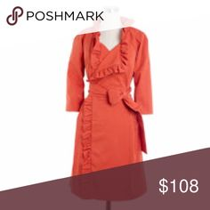 🎉HP🎉 J. Crew Ruffle Trench Coat Thee statement coat in a beautiful, vibrant orange/coral color. No buttons. Belt closure. Size: 6. More photos to come. J. Crew Jackets & Coats