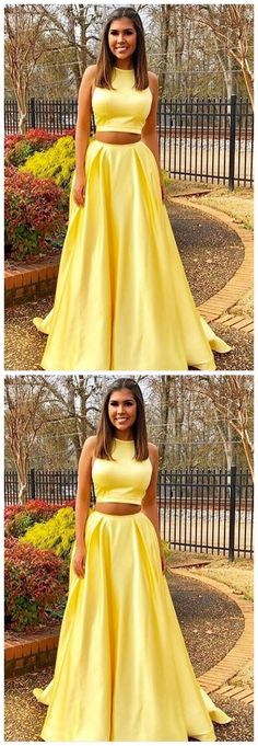 Simple Yellow Prom Dress, A-Line Evening Dress, Two Piece Long Prom Dress 51866	#RosyProm #fashionpromdress #charmingpromgown #longpartydress #simpleeveningdress #yellowpromdress #twopiecepromgown
