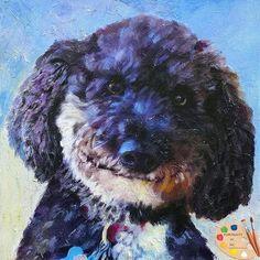Portraits by NC.com #doodle #portrait #dogs #pets #painting #artwork #animals #handmade #custom #gifts #smiling dogs https://portraits-by-nc.com/products/doodle-dog-portrait-556