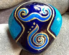 sea goddess / blue waters / painted rocks / painted stones, Sandi Pike Foundas / love from Cape Cod