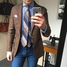 818 отметок «Нравится», 16 комментариев — Handcrafted ✂️ Accessories. (@poszetkacom) в Instagram: «Casual Friday with denim and linen /PS and tie/ amd alpaka (jacket)»