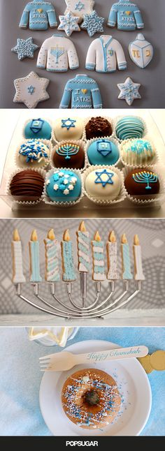 20 Hanukkah Desserts to Make the Holiday Even Sweeter From glittery doughnuts to marshmallow dreidels, check out our favorite Hanukkah desserts to pair with your menorah lighting this year. Hanukkah Food, Hanukkah Decorations, Christmas Hanukkah, Happy Hanukkah, Hanukkah Recipes, Hanukkah Diy, Hanukkah Menorah, Desserts To Make, Holiday Desserts