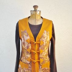 Vintage Dress Jumper Brown Tapestry 1960s by AlegriaCollection