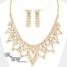 CLEAR ON GOLD RHINESTONE CRYSTAL PROM WEDDING FORMAL NECKLACE JEWELRY SET TRENDY #Unbranded