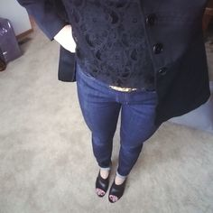 Wear a black lace shirt with a cool blazer. Put on a leopard belt to have more interest in your mostly black outfit. www.diyglamour.com #fashion #outfit