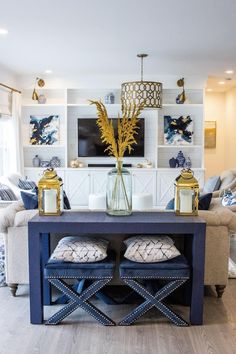 New Collection Spotlight! Our Newport Grasscloth Parsons Styled by Designer, Molly Kay New Collection Spotlight! Our Newport Grasscloth Parsons Styled by Des – Society Social designs Coastal Living Rooms, New Living Room, Home And Living, Blue Living Room Decor, Coastal Cottage, Coastal Homes, Modern Living, Living Spaces, Furniture Layout