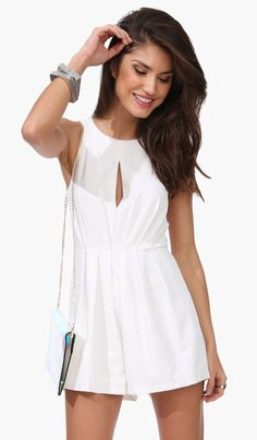 $37.99 White Rehearsal Dinner Romper - Necessary Clothing. Would be fun for Vegas!