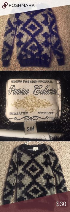 Parisian Collection, handcrafted with love This fabric is SO soft. Such a pretty light gold and black, furry sweater! Great for the holiday season with jeans or leggings! Dress it up or dress it down! No signs of wear. Brand new quality. Sweaters Crew & Scoop Necks