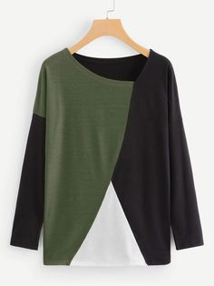 Casual Regular Fit Round Neck Long Sleeve Pullovers Multicolor Regular Length Cut And Sew Panel Tee Fashion News, Fashion Outfits, Fashion Styles, Batik, Latest T Shirt, Cut Shirts, Sleeve Styles, Color Blocking, Pullover