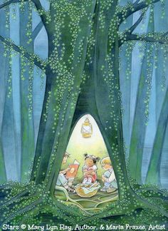 "STARS, 2011 ©  Mary Lyn Ray, Author, & Marla FRAZEE (artist & two-time Caldecott Honor winner. Pasadena, California, USA).  www.marlafrazee.com Pub: Beach Lane Books, Simon & Schuster.  Also used by the ALA as a poster with this caption: 'Hide out with a GOOD BOOK!"" ...  [Do not remove caption. The law requires that you credit the artist. List/Link directly to artist's website.]   PINTEREST on COPYRIGHT:  http://pinterest.com/pin/86975836526856889/"